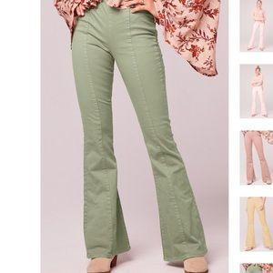 Loz Feliz seafoam flare stretch denim jeans